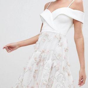 3d Floral High-Low Dress